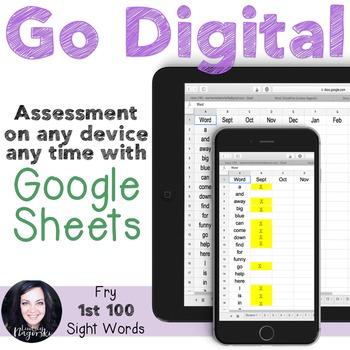 Google Sheets Digital Fry Sight Word Assessment (Fry 1st 100)