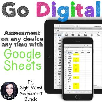 Google Sheets Digital Fry Sight Word Assessment Growing Bundle