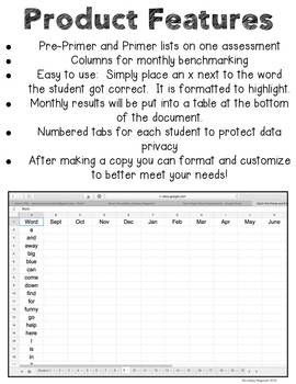 Google Sheets Digital Kindergarten Sight Word Assessment (Wonders)