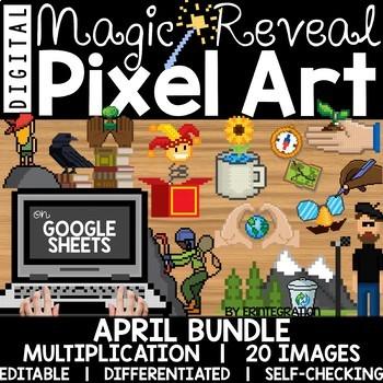 Google Sheets Digital Pixel Art Magic Reveal APRIL BUNDLE: MULTIPLICATION
