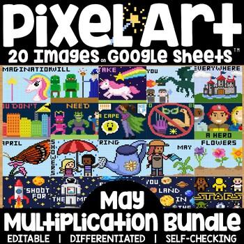 Google Sheets Digital Pixel Art Magic Reveal MAY BUNDLE: MULTIPLICATION