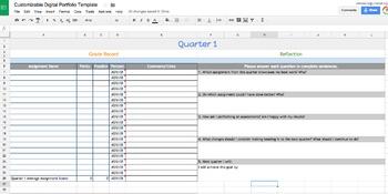 Google Sheets Digital Student Portfolio