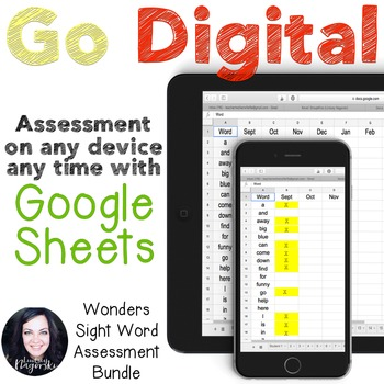 Google Sheets Digital Wonders Sight Word Assessment Growin