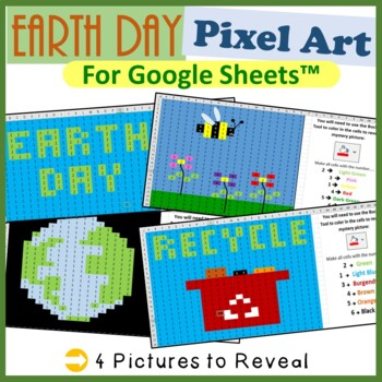 earth day mystery pictures fill color activity for google sheets