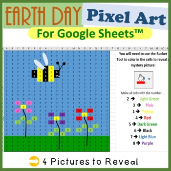 Earth Day Mystery Pictures Fill Color Activity for Google Sheets™