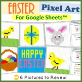 Easter Mystery Pictures Fill Color Activity for Google Sheets™ (Pixel Art)