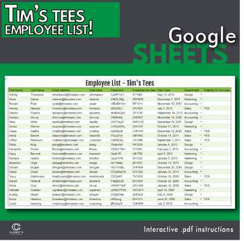Google Sheets - Employee Information Sheet