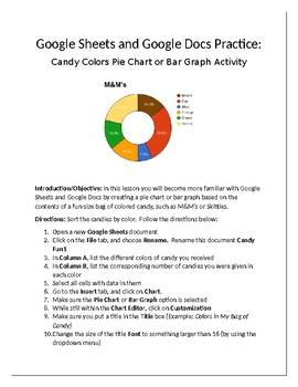 google sheets google docs practice candy pie chart bar graph activity