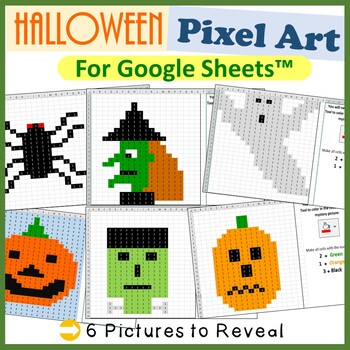 Google Sheets Halloween Mystery Pictures Fill Color - Computer Lab