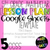 Google Sheets Lesson Templates - Drop Down Menus (5th Grade Math/ELAR) (CCSS)