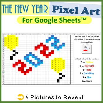 New Years Day Mystery Pictures Fill Color Activities Google Sheets™