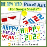 New Years Day Mystery Pictures Fill Color Activities Google Sheets™ (Pixel Art)