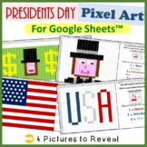 Presidents Day Mystery Pictures Fill Color Activities Google Sheets™ (Pixel Art)