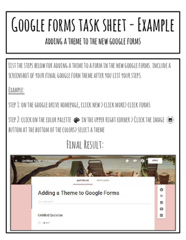 Google Forms Task Sheet Bell Ringer - Selecting a Theme - Fully Editable!