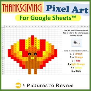 Google Sheets Thanksgiving Mystery Pictures Fill Color - Computer Lab