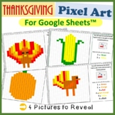 Thanksgiving Mystery Pictures Fill Color Activity for Google Sheets™ (Pixel Art)