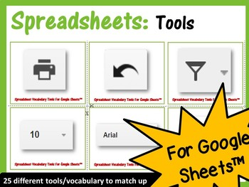 Spreadsheet Tools Vocabulary Card Match (25 Cards) - for Google Sheets™