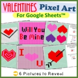 Valentine's Day Mystery Pictures Fill Color for Google Sheets™ (Pixel Art)