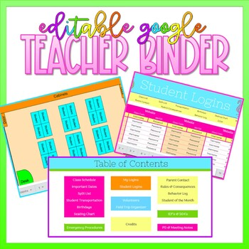 Google Sheets Virtual Teacher Binder