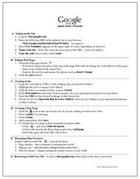 Google Sites Quick Start Template and Instructions