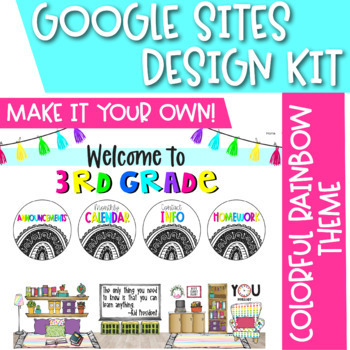 Virtual Classroom Package for Google Sites | Buttons, Slides, Banners | Website