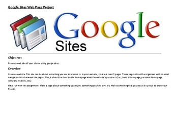 Google Sites Web Page Project Step by Step Instructions with pictures