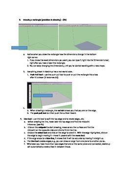 Sketchup--3D Design-Part I-Instr. Handout--Worksheet/Key- Tools, Directions