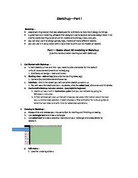 Sketchup--3D Design-Part I-Instr. Handout--Worksheet/Key-