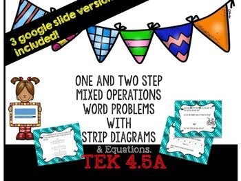 Google Slide One and Two Step Problems for Basic Operations TEK 4.5A and 4.4H