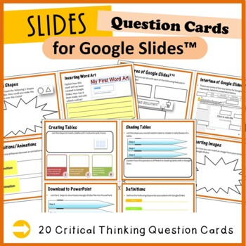 Google Slides - 12 Question Cards (Critical Thinking Skills)