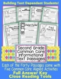 Google Slides™ 2nd Grade Common Core Informational Text Close Reading HW & PDFs