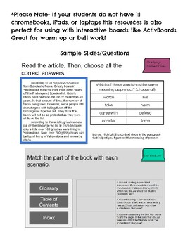 Google Slides 4th-6th Grade Nonfiction Reading Review Questions