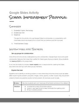Google Slides Activity - School Improvement Proposal