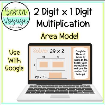 Google Slides Area Model 2 digit by 1 digit