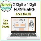 Google Slides Area Model 2 digit by 1 digit Multiplication (Google Classroom)