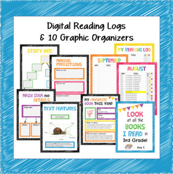 Google BUNDLE Reading Logs,Graphic Organizers,Mindset,Memories, All about Me