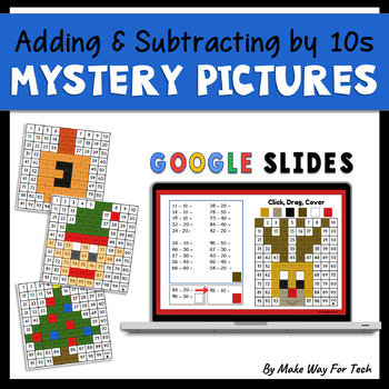 Google Christmas and Hanukkah Adding and Subtracting by Tens Mystery Pictures
