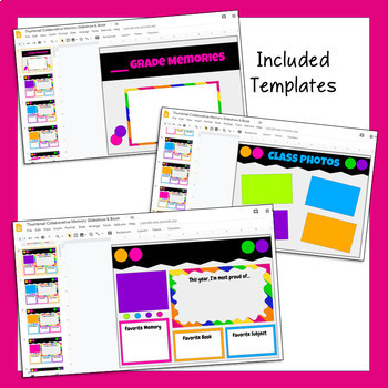Google Slides Collaborative Memory Slideshow & Book (End of the Year Activities)