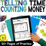 Counting Money Telling Time Practice First Grade Math Acti