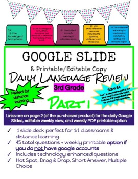 Google Slides Daily Language Review 3rd Grade (SOL 3.4, 3.9)