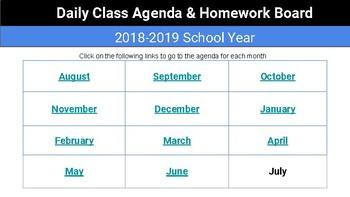 Google Slides - Digital Agenda/Homework Board (2017-2018)