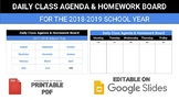 Google Slides - Digital Agenda/Homework Board (2018-2019)