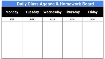 Google Slides - Digital Agenda/Homework Board (2018-2019)