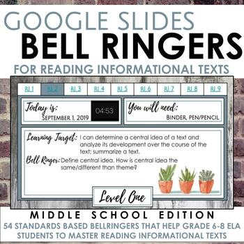 Digital Bell Ringers for Reading Informational Texts in Grades 6-8