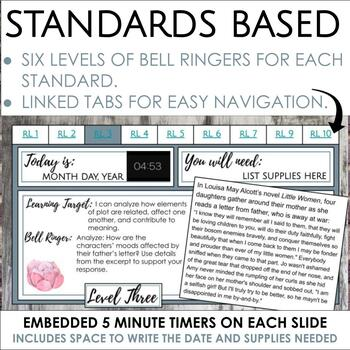 Digital Bell Ringers for Reading Literature in Grades 6-8