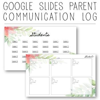 google slides digital parent communication log fully editable