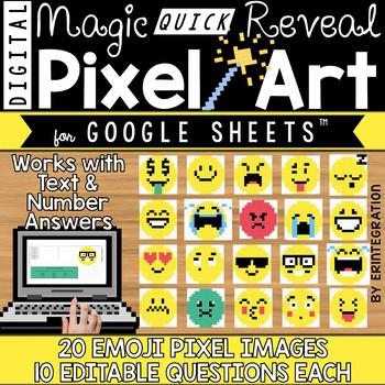 Google Sheets Digital Pixel Art Magic QUICK Reveal EMOJIS