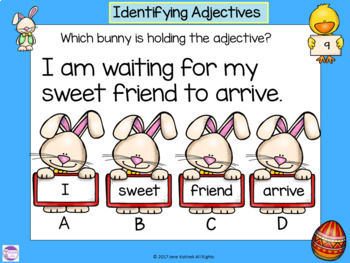 Google Slides Easter Adjectives Activity with Google Forms and Task Cards