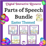 Google Slides Easter Themed Grammar Bundle with Google Forms and Task Cards