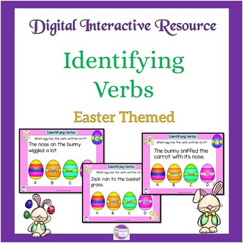 Google Slides Easter Themed Verb Activity  Google Forms and Task Cards